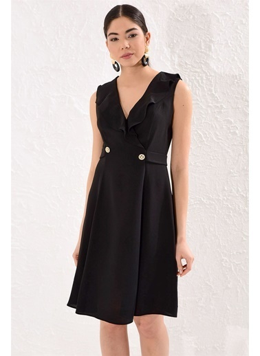 Setre Oranj Metal Düğmeli Volan Elbise Siyah